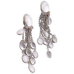 MARGUERITE DE VALOIS Dangling Clip-on Earrings in White Molten Glass