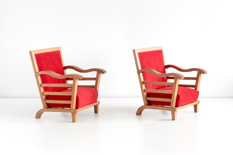 Mid-Century Modern Marguerite Dubuisson Pair of Armchairs in Oak and Elm, France, 1947 For Sale