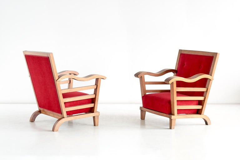 French Marguerite Dubuisson Pair of Armchairs in Oak and Elm, France, 1947 For Sale