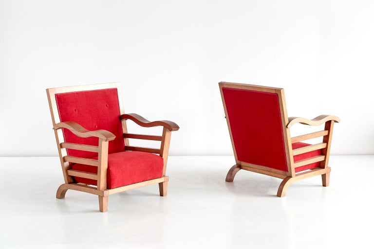 Mid-20th Century Marguerite Dubuisson Pair of Armchairs in Oak and Elm, France, 1947 For Sale