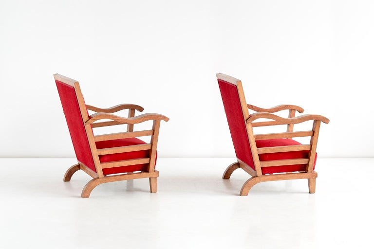 Fabric Marguerite Dubuisson Pair of Armchairs in Oak and Elm, France, 1947 For Sale