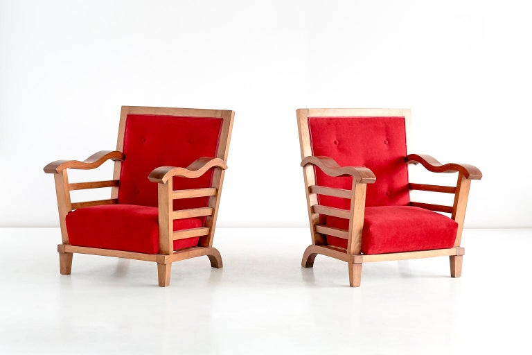 Marguerite Dubuisson Pair of Armchairs in Oak and Elm, France, 1947 For Sale 1
