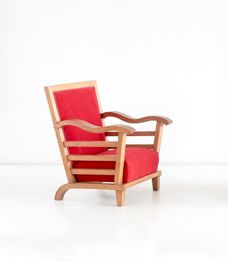 Marguerite Dubuisson Pair of Armchairs in Oak and Elm, France, 1947 For Sale 2