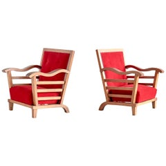 Marguerite Dubuisson Pair of Armchairs in Oak and Elm, France, 1947