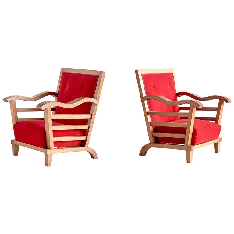 Marguerite Dubuisson Pair of Armchairs in Oak and Elm, France, 1947 For Sale