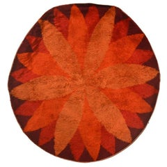 Marguerite Rya Round Wool Rug by Verner Panton 1960s Design