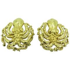 Marguerite Stix Gold Octopus Earrings
