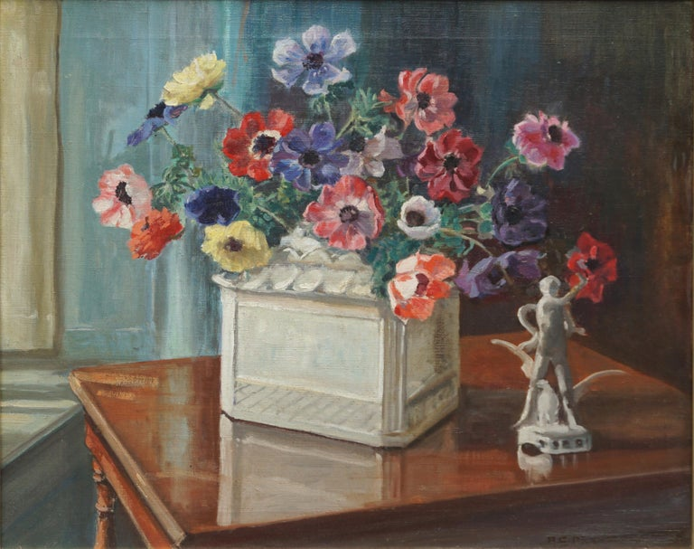 Anemones & Porcelain Statue Still Life by Marguerite Pearson - Painting by Marguerite Stuber Pearson