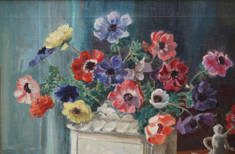 Anemones & Porcelain Statue Still Life by Marguerite Pearson - American Impressionist Painting by Marguerite Stuber Pearson