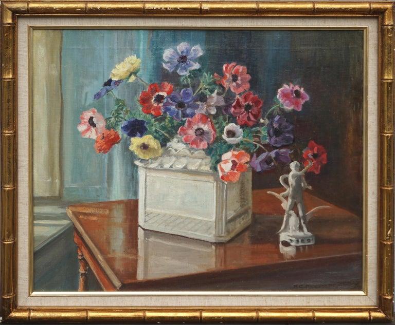 Marguerite Stuber Pearson Still-Life Painting - Anemones & Porcelain Statue Still Life by Marguerite Pearson