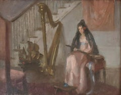 """Lady Playing Instrument - Music Room,"" Marguerite Stuber Pearson, Impressionism"