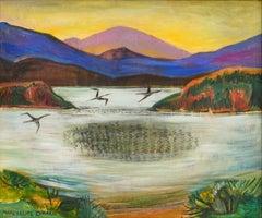 Signs of Autumn Birds Flying in scenic Fauve Landscape.   Frederick Harer Frame
