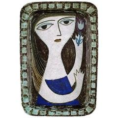 Mari Simmulson for Upsala-Ekeby, Dish in Glazed Stoneware with Portrait of Woman