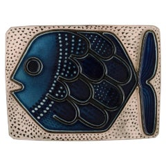 Mari Simmulson for Upsala-Ekeby, Glazed Ceramic Wall Plaque Decorated with Fish