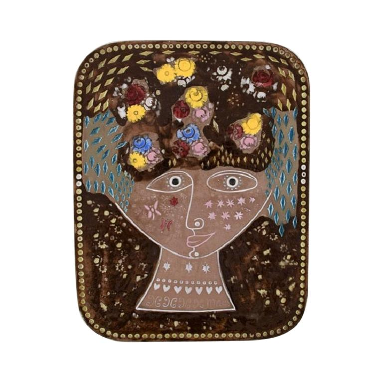 Mari Simmulson for Upsala-Ekeby, Wall Plaque in Glazed Stoneware, 1960s For Sale
