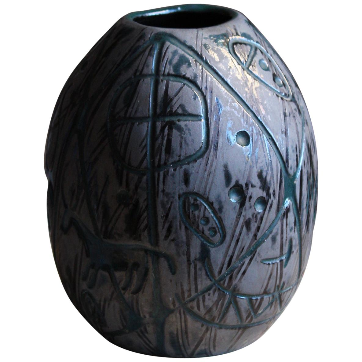 "Mari Simmulson, ""Hedenhös"" Vase, Glazed Stoneware, Upsala Ekeby, Sweden, 1957"