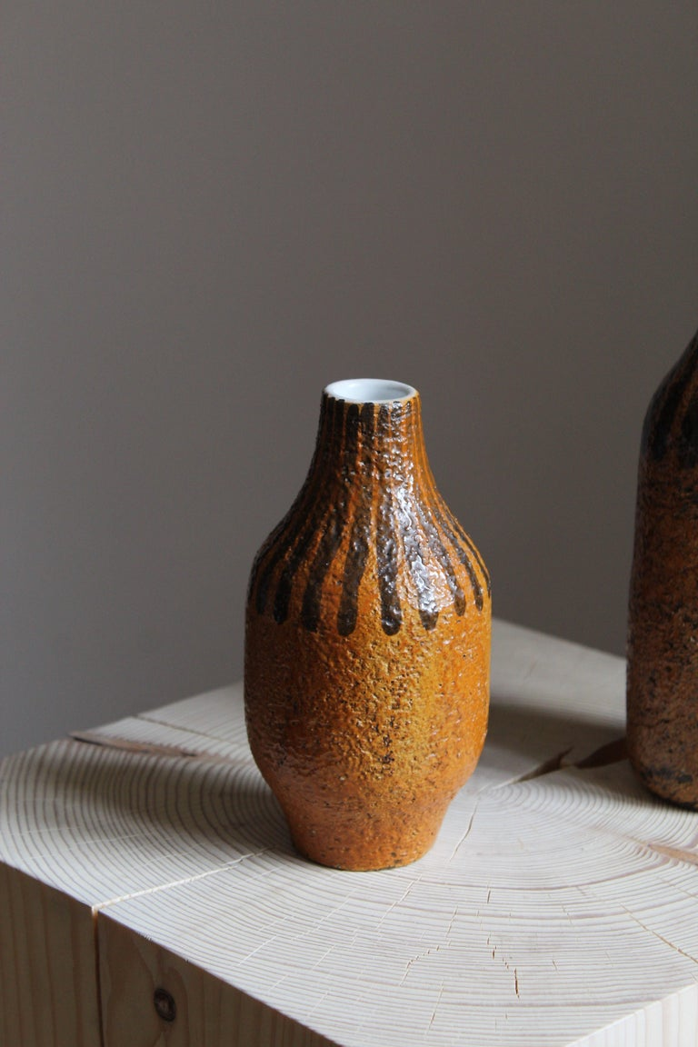 Mid-Century Modern Mari Simmulson, Vases, Glazed and Hand-Painted Stoneware, Sweden, C. 1950s For Sale