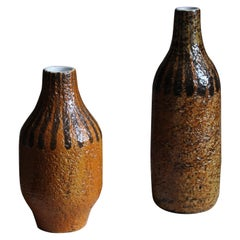 Mari Simmulson, Vases, Glazed and Hand-Painted Stoneware, Sweden, C. 1950s