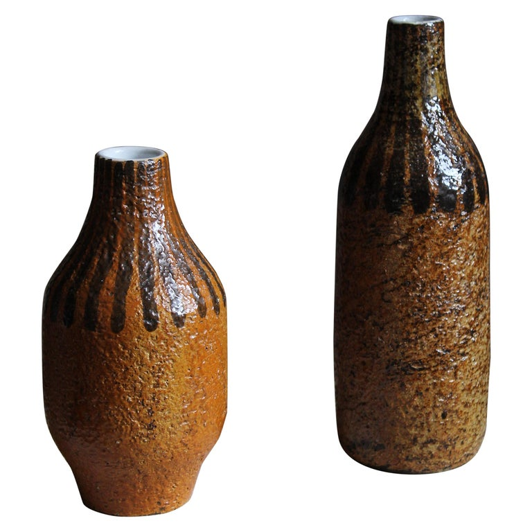 Mari Simmulson, Vases, Glazed and Hand-Painted Stoneware, Sweden, C. 1950s For Sale