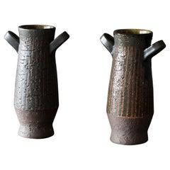 Mari Simmulson, Vases, Glazed Stoneware, Upsala Ekeby, Sweden, 1940s