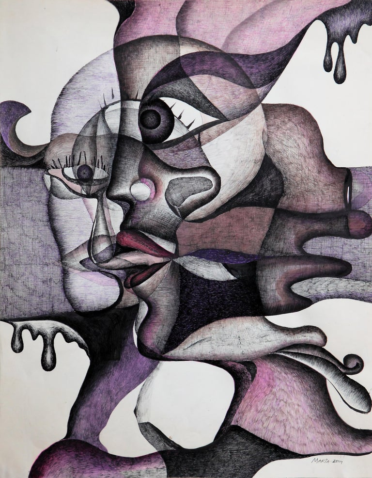 """Hand-Painted Maria Astadjov Modern Abstract Painting titled """"The Taste of Tears"""" 2014 For Sale"""
