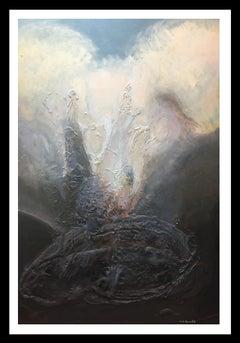 El dia que es va crema el Liceo original abstract mixed media painting