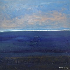 """SEA AND BLUE SKY"" original expressionist mixed media canvas painting"