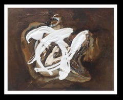 white on ocher original abstract mixed media painting