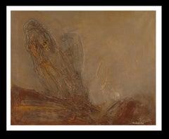 """ Informalisme "" original abstract mixed media painting"