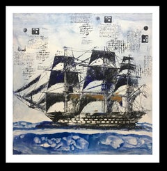 """ Marina II "" original expressionist acrylic painting"
