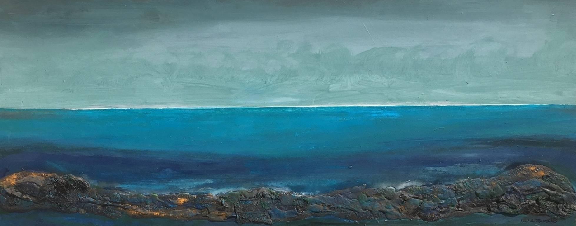 """ Marina"" original expressionist mixed media painting"