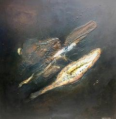 """ NEGRO""  original abstract mixed media canvas painting"
