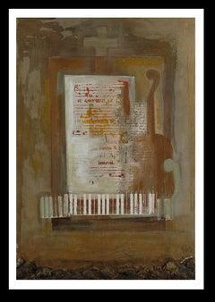 """ Usvic""  original expressionist mixed media acrylic painting"