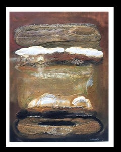 """"""" white on ocher"""" original abstract mixed media painting"""
