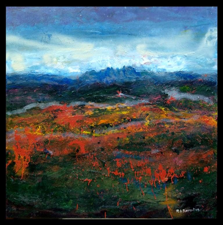 "Maria Asuncion Raventos Landscape Painting - ""AMAPOLAS"" original abstract mixed media painting"