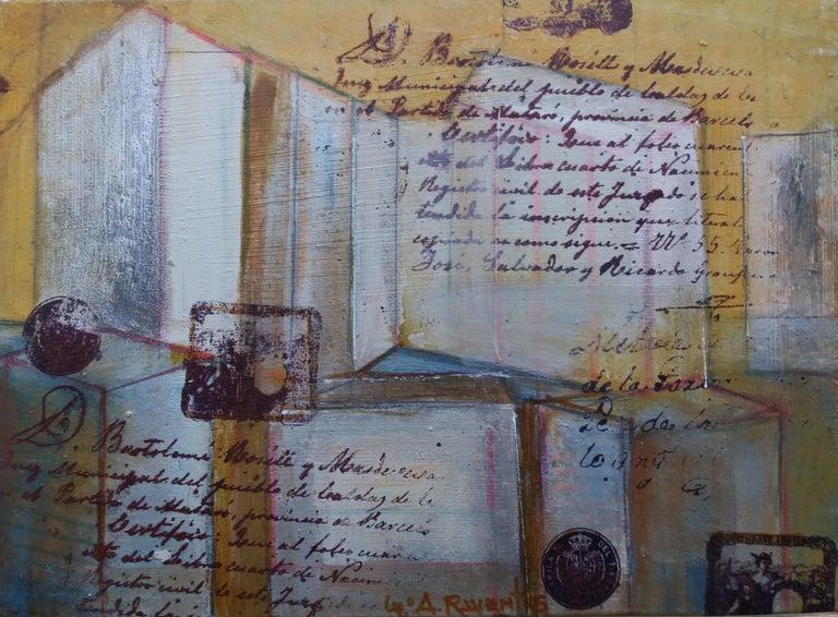 arquitectures original expressionist mixed media painting - Abstract Expressionist Painting by Maria Asuncion Raventos