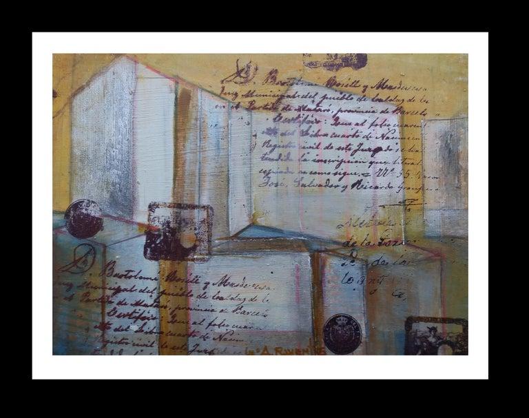 Maria Asuncion Raventos Still-Life Painting - arquitectures original expressionist mixed media painting