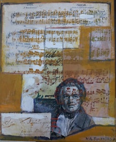 Beethoven original expressionist mixed media painting