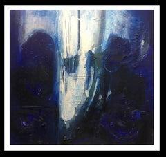"""blue sea"" original abstract mixed media painting"