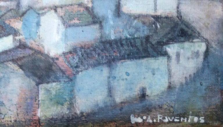 Cadaques original expressionist mixed media painting - Blue Landscape Painting by Maria Asuncion Raventos