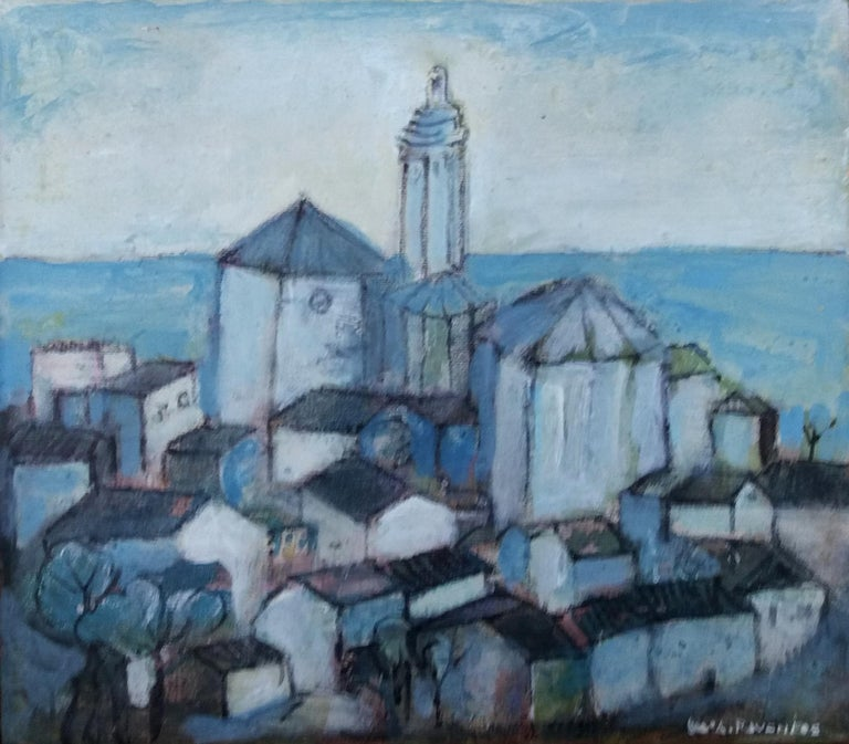 Cadaques original expressionist mixed media painting - Painting by Maria Asuncion Raventos
