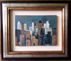 City. original expressionist acrylic painting