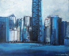 Ciudad original expressionist acrylic painting
