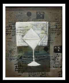 cup and writings original abstract mixed media painting