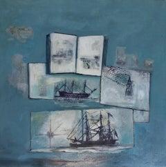 Escritura y Barcos original expressionist acrylic painting
