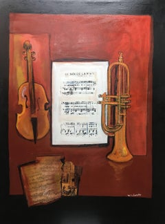 """Fiddle music sheet"""" original expressionist mixed media painting"""