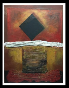 """Geometric forms"""" original abstract mixed media painting"""