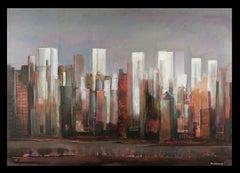 Gratacels II original expressionist canvas acrylic painting