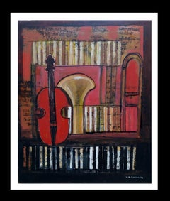 Instruments original expressionist acrylic painting