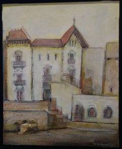 """""""LA CASA BLAVA , CADAQUES """" original expressionist acrylic canvas painting"""